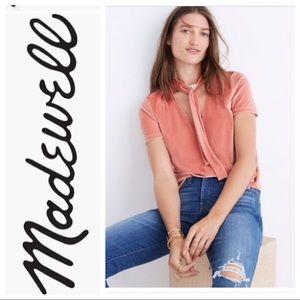 Madewell Peach Velvet Tie Front Top Sz L